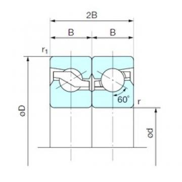 55 mm x 100 mm x 20 mm  NACHI 55TAB10DB Cojinetes De Bola
