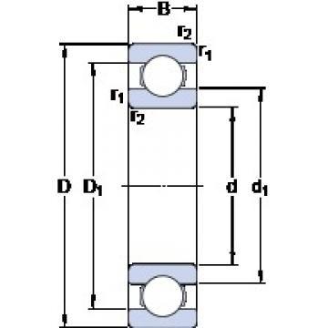 1.397 mm x 4.762 mm x 1.984 mm  SKF D/W R1 Cojinetes de bolas profundas
