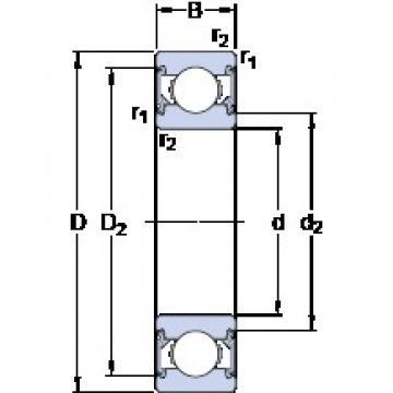 20 mm x 47 mm x 14 mm  SKF 6204-2RSH Cojinetes de bolas profundas