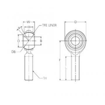 22 mm x 50 mm x 22 mm  NMB RBT22E Rodamientos Deslizantes