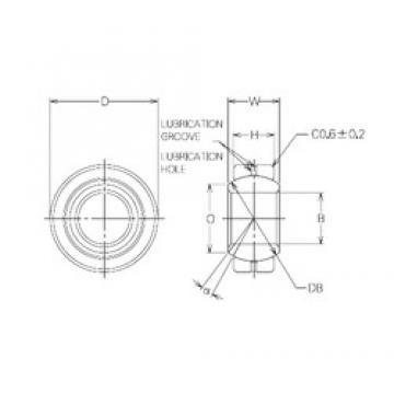 28 mm x 50 mm x 28 mm  NMB MBG28CR Rodamientos Deslizantes