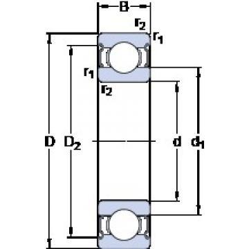 5 mm x 19 mm x 6 mm  SKF 635-2RS1 Cojinetes de bolas profundas